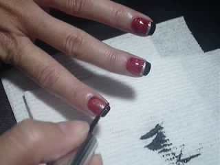 Red & Black Floral Nails